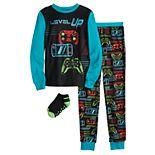 Boys 6-12 Cuddl Duds® 3-Piece Top & Bottoms Pajama Set With Socks