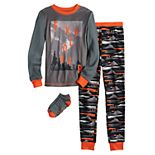 Boys 6-12 Cuddl Duds® 3-Piece Top & Bottoms Pajama Set With Socks