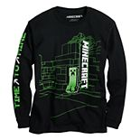 Boys 8-20 Minecraft Time to Mine Long Sleeve Graphic Tee