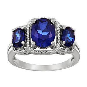 Sterling Silver Lab-Created Ceylon Sapphire & Diamond Accent 3-Stone Ring