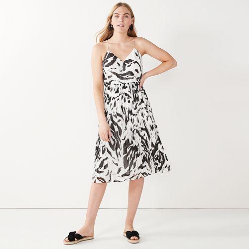 Petite Nine West Zebra-Print Pleated Faux-Wrap Dress