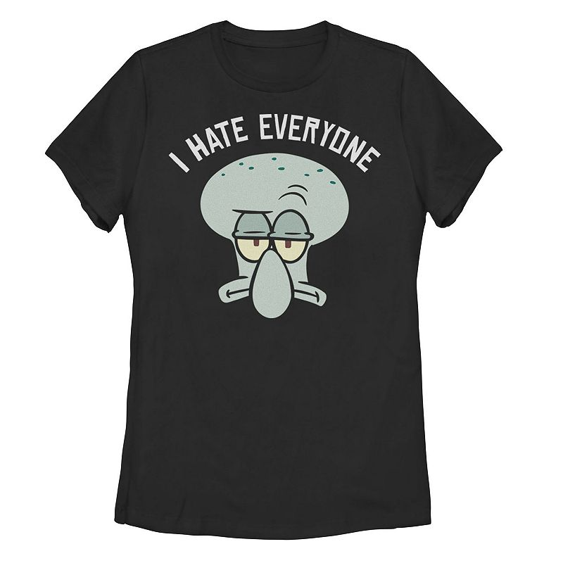 Juniors' Nickelodeon SpongeBob SquarePants Squidward I Hate Everyone Tee, Girl's, Size: Small, Black