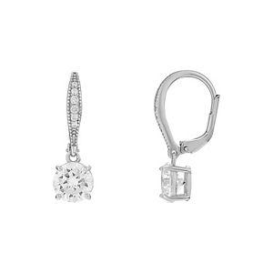 PRIMROSE Sterling Silver Cubic Zirconia Leverback Earrings