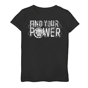 Girls 7-16 Marvel Black Panther Find Your Power Purple Text Tee