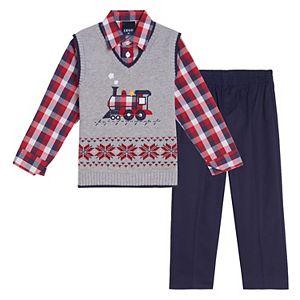 Baby Boy IZOD 3 Piece Train Fairisle Sweater Vest Set