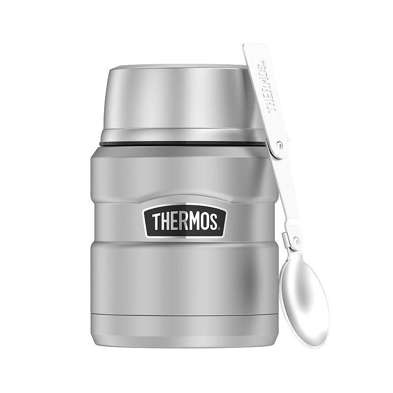 Thermos 16-oz. Stainless Steel Food Jar with Folding Spoon, Grey, 16 Oz