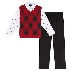 Baby Boy IZOD 3 Piece Buffalo Plaid Sweater Vest Set