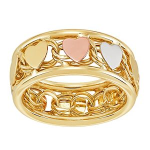 Everlasting Gold Tri-Tone Heart Ring