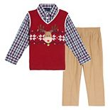 Toddler Boy IZOD 3 Piece Reindeer Fairisle Sweater Vest Set
