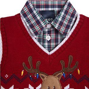 Toddler Boy IZOD 3 Piece Reindeer Fairisle Sweater Vest Set