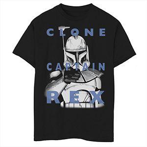 Boys 8-20 Star Wars: Clone Wars Clone Captain Rex Text Overlay Graphic Tee