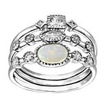 Sterling Silver Lab-Created Opal & Cubic Zirconia Stack Ring Set
