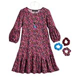Girls 7-16 & Plus Size Three Pink Hearts Lantern Sleeve Dress with Necklace & Scrunchies