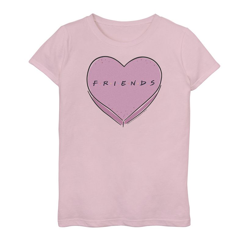 Girls 7-16 Friends Valentine's Day Candy Heart Logo Graphic Tee, Girl's, Size: XL, Pink