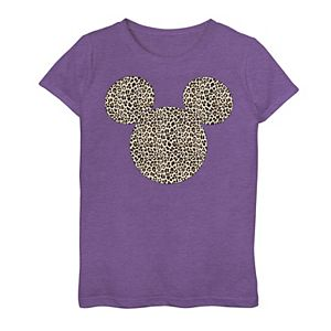 Girls 7-16 Disney Mickey Mouse Cheetah Print Silhouette Fill Graphic Tee