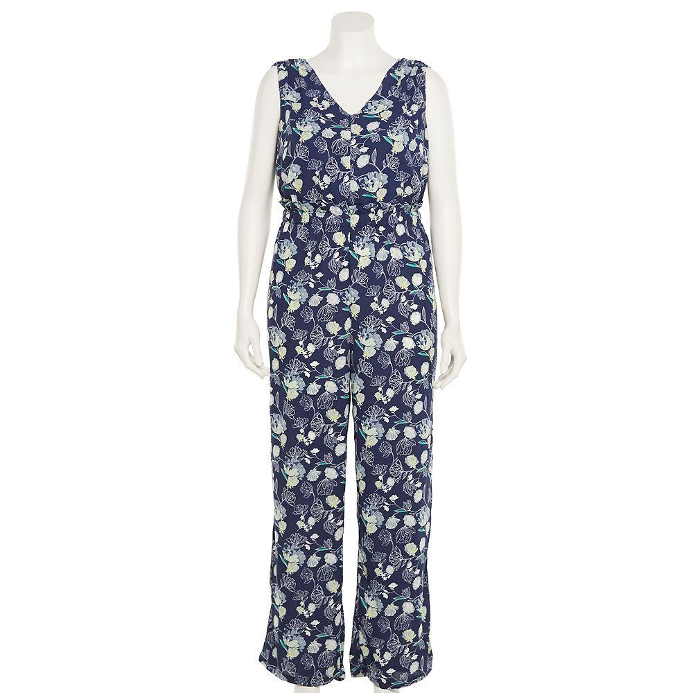 Plus Size Apt. 9® Floral Paperbag-Waist Jumpsuit