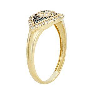 10k Gold 1/3 Carat T.W. Diamond Evil Eye Ring