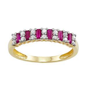 10k Gold Sapphire & Diamond Ring