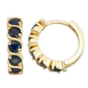 10k Gold Gemstone Huggie Hoop Earrings