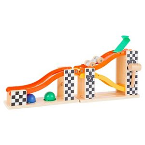 Small Foot Wooden Toys Marble Run and Knock Hammer Bench In Rally Design