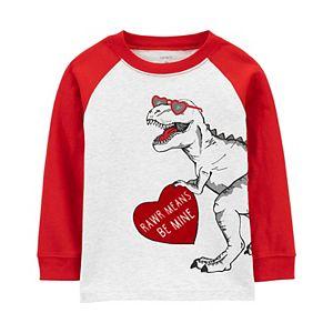 """Baby Boy Carter's Valentine's Day Dinosaur """"Be Mine"""" Raglan Tee"""