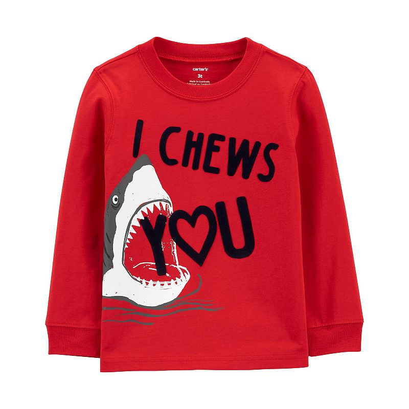 """Baby Boy Carter's """"I Chews You"""" Shark Jersey Tee, Infant Boy's, Size: 9 Months, Red"""