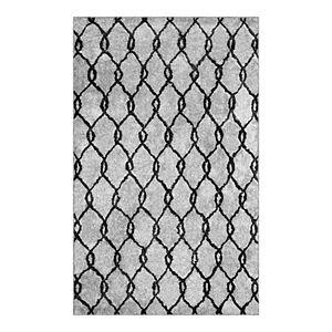 Luxuriant Microfiber Plush Trellis Shag Area Rug