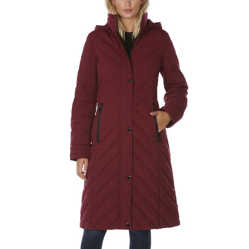 Women's Halitech Hooded Stretch Maxi Puffer Coat, Size: Small, Light Pink