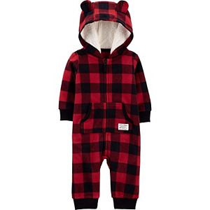 Baby Boy Carter's Buffalo Check Fleece Jumpsuit Coverall