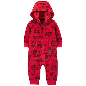 Baby Boy Carter's Zip-Up Trains Hooded Fleece Jumpsuit Coverall