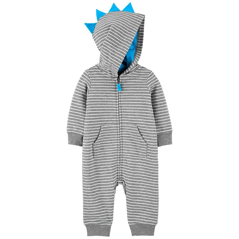 Baby Boy Carter's Zip-Up Striped French Terry Jumpsuit, Infant Boy's, Size: 3 Months, Grey