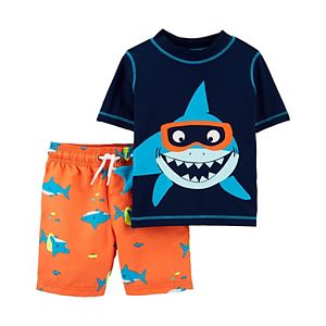 Toddler Boy Carter's 2 Piece Shark Rash Guard Top & Swim Trunks Set