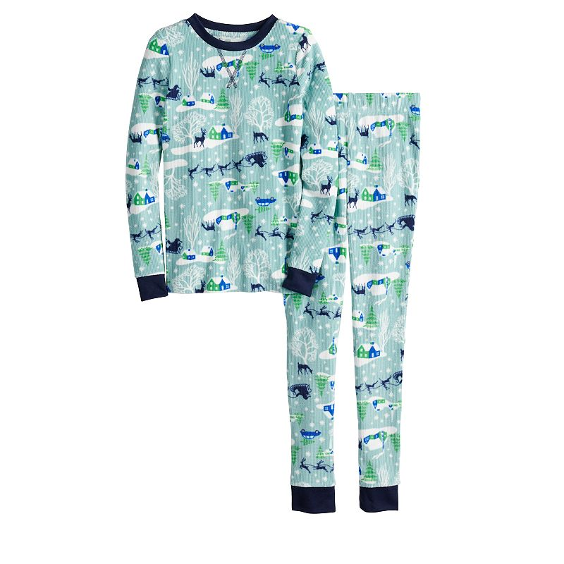 Girls 4-16 Jammies For Your Families Sleigh All Day Top & Bottoms Pajama Set, Girl's, Size: 8, Med Blue