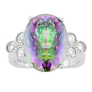 Rosabella Sterling Silver Rainbow Quartz & White Topaz Oval Ring