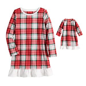 Jammies For Your Families® Girls 4-16 Classic Christmas Car Nightgown & Matching Doll Gown Pajamas