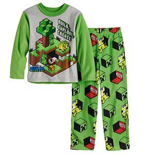Boys 6-12 Minecraft Boom Treasure 2-Piece Top & Bottoms Pajama Set