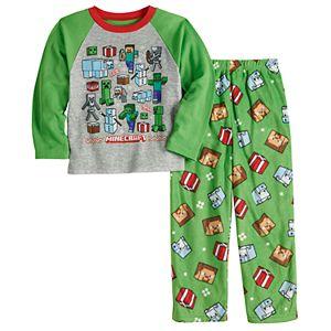 Boys 6-12 Minecraft Seasons Greetings 2-Piece Shirt & Pants Pajama Set