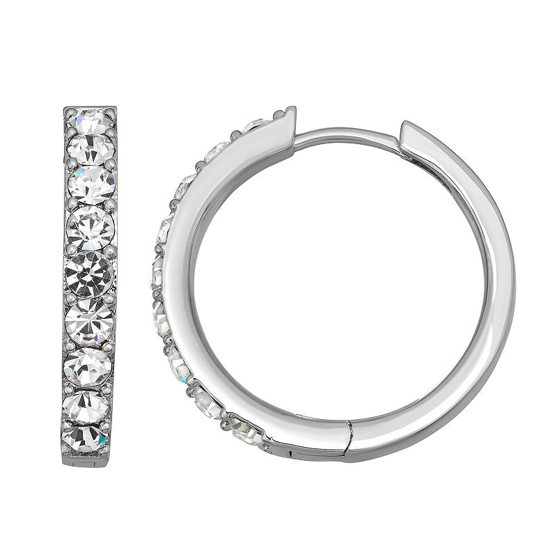 Chrystina Fine Silver Plate Crystal Endless Hoop Earrings, Women's, White