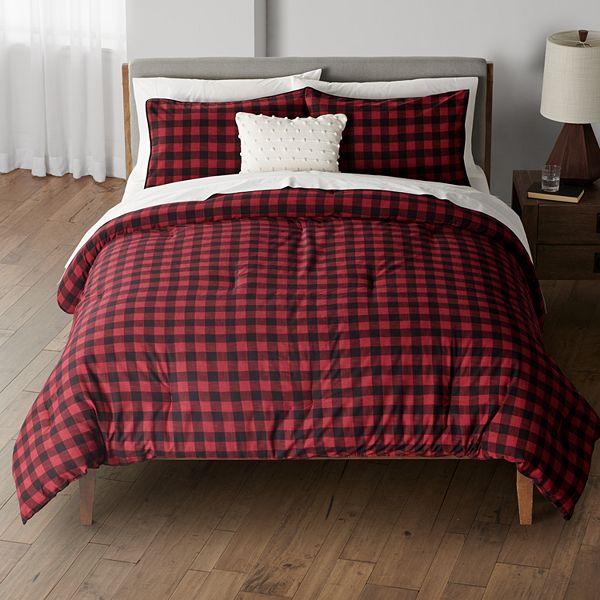 sonoma goods for life hudson red buffalo check plaid comforter set with shams