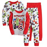 Boys 4-10 Avengers Heroic Holiday Tight Fit 4-Piece Pajama Set