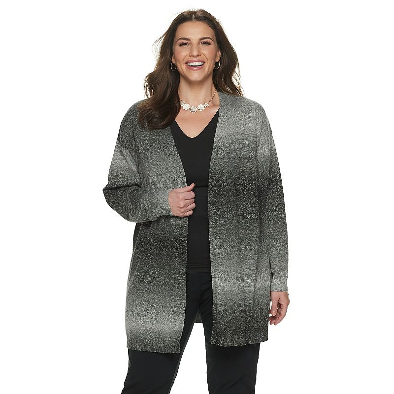 Plus Size Napa Valley Open-Front Ombre Cardigan, Women's, Size: 1XL, Med Grey