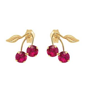 Everlasting Gold 10K Gold Lab Created Ruby Cherry Stud Earrings
