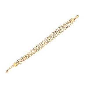 Everlasting Gold 10K Gold Triple Row Picasso Link Chain Bracelet