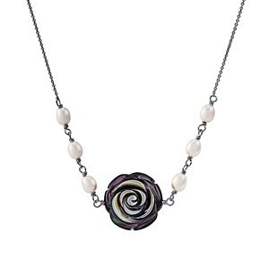 Freshwater by HONORA Sterling Silver Black Mother-of-Pearl & Freshwater Cultured Pearl Flower Necklace