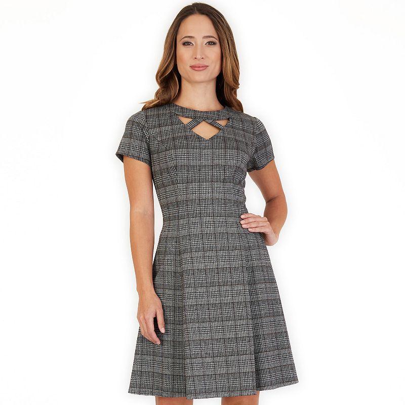 Women's Apt. 9 Cutout Short Sleeve Fit & Flare Dress, Size: 6, Menswear Plaid