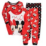 Disney's Mickey & Minnie Mouse Toddler Girl 4 Piece Valentine Pajama Set