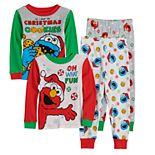Toddler Boy Sesame Street 4-Piece Holiday Fun Tops & Bottoms Pajama Set