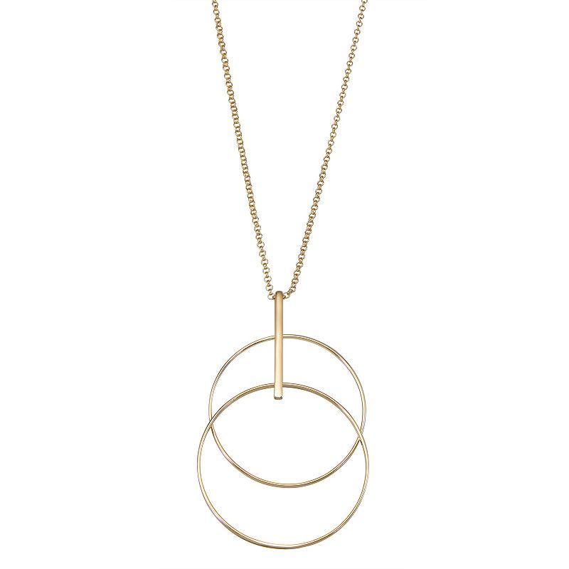 Nine West Gold Tone Layered Circle Pendant Necklace, Women's