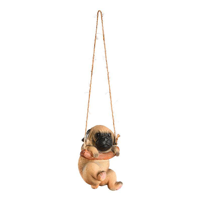 National Tree Company Swinging Pug Puppy Wall Decor, Beig/Green