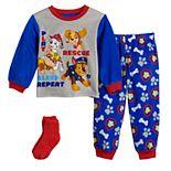 Toddler Boy Paw Patrol Go Team 2 Piece Fleece Pajama Set With Socks